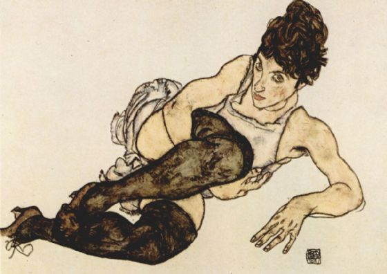 Schiele, Egon: Reclining Woman with Black Stockings. Fine Art Print/Poster. Sizes: A4/A3/A2/A1 (003319)